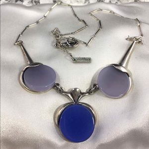 Silver Tone Two Tone Of Blue Necklace